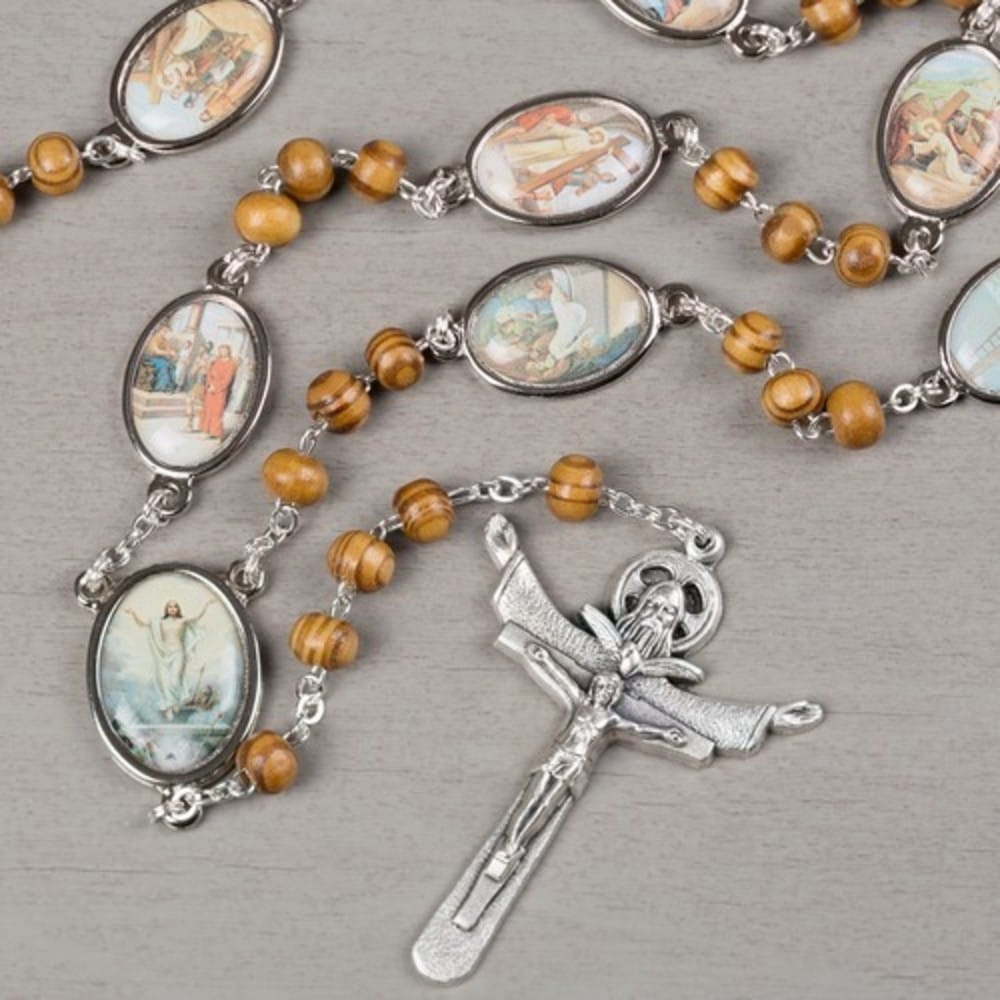 stations of the cross rosary brown wood the catholic company
