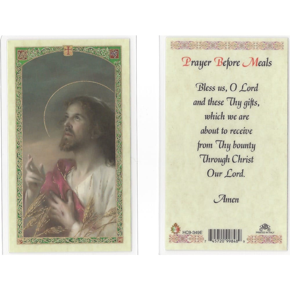 Prayer Before Meals Holy Card