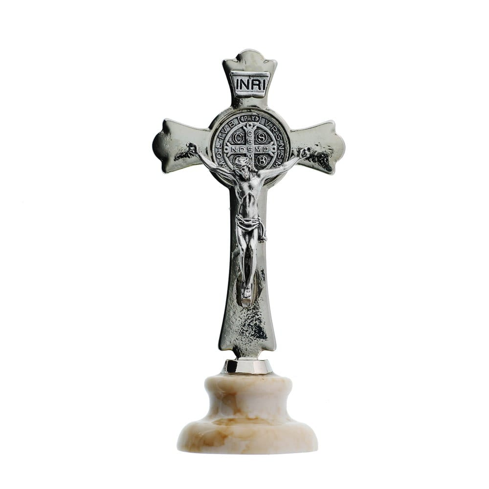 Standing St. Benedict Silver Crucifix, 3 Inch