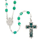 Deluxe Pewter 6mm Emerald Rosary with Enamel Crucifix