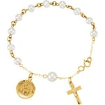 Freshwater Pearl Rosary Bracelet with First Holy Communion Medal-14KT