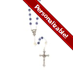 PERSONALIZE: 6MM Blue / Pearl Rosary