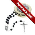 PERSONALIZE: Confirmation Rosary Box Set - Black Rosary