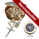 PERSONALIZE: Confirmation Rosary Box Set - Pearl Rosary
