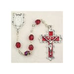 Deluxe Pewter 6mm Ruby Rosary with Enamel Crucifix
