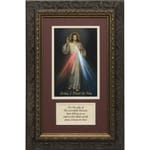 Divine Mercy (Matted w/ Prayer in Dark Ornate Frame) 8x14