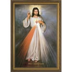 Divine Mercy w/ Sacred Heart in Gold Frame
