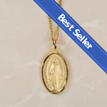 BEST SELLER: Gold/Sterling Silver Miraculous Medal on 18 inch chain