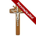 PERSONALIZE: Holy Spirit Wood Crucifix - 8 inch