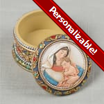 PERSONALIZE: Madonna & Child Rosary/Keepsake Box