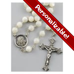 PERSONALIZE: Mother of Pearl Rosary - 8mm