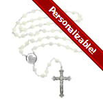 PERSONALIZE: Sterling Silver Mother of Pearl Rosary - 8mm