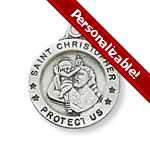 PERSONALIZE: Sterling Silver St. Christopher Medal with 18 inch chain