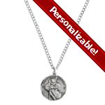 PERSONALIZE: Sterling Silver St. Christopher Medal, 24 inch chain