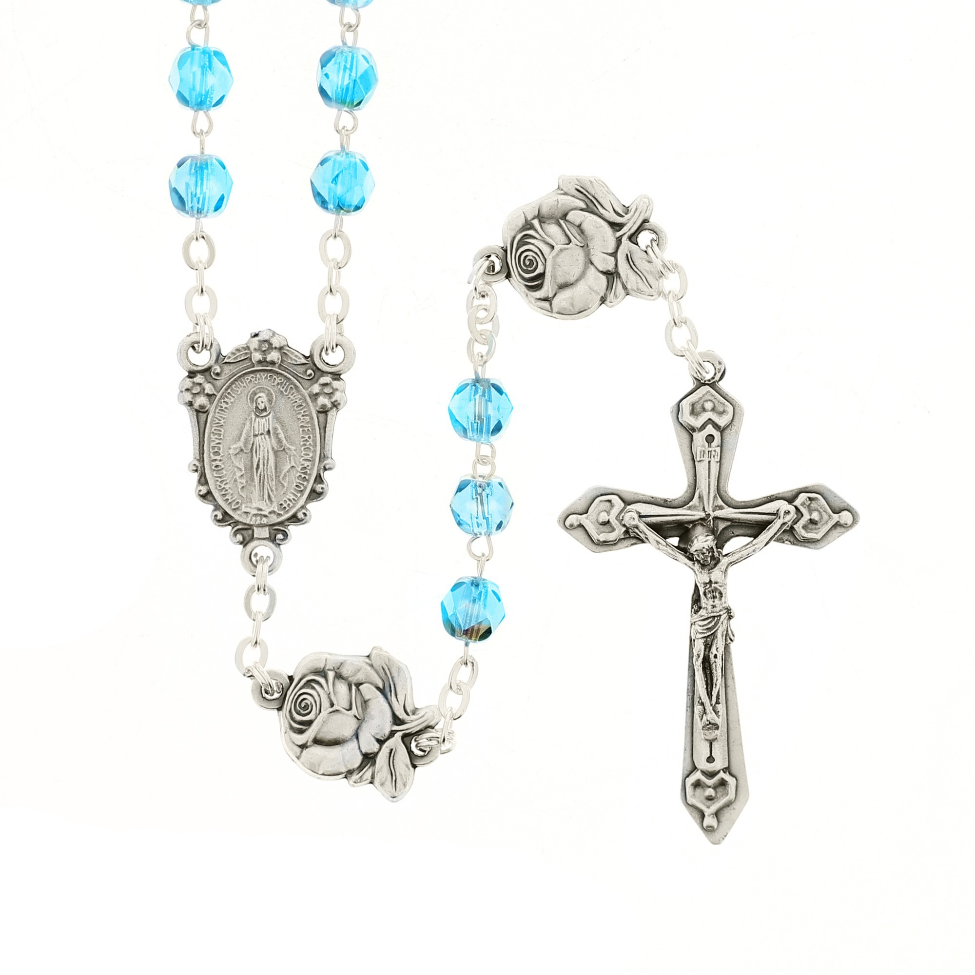 Aqua Miraculous Medal With Roses Rosary The Catholic Company