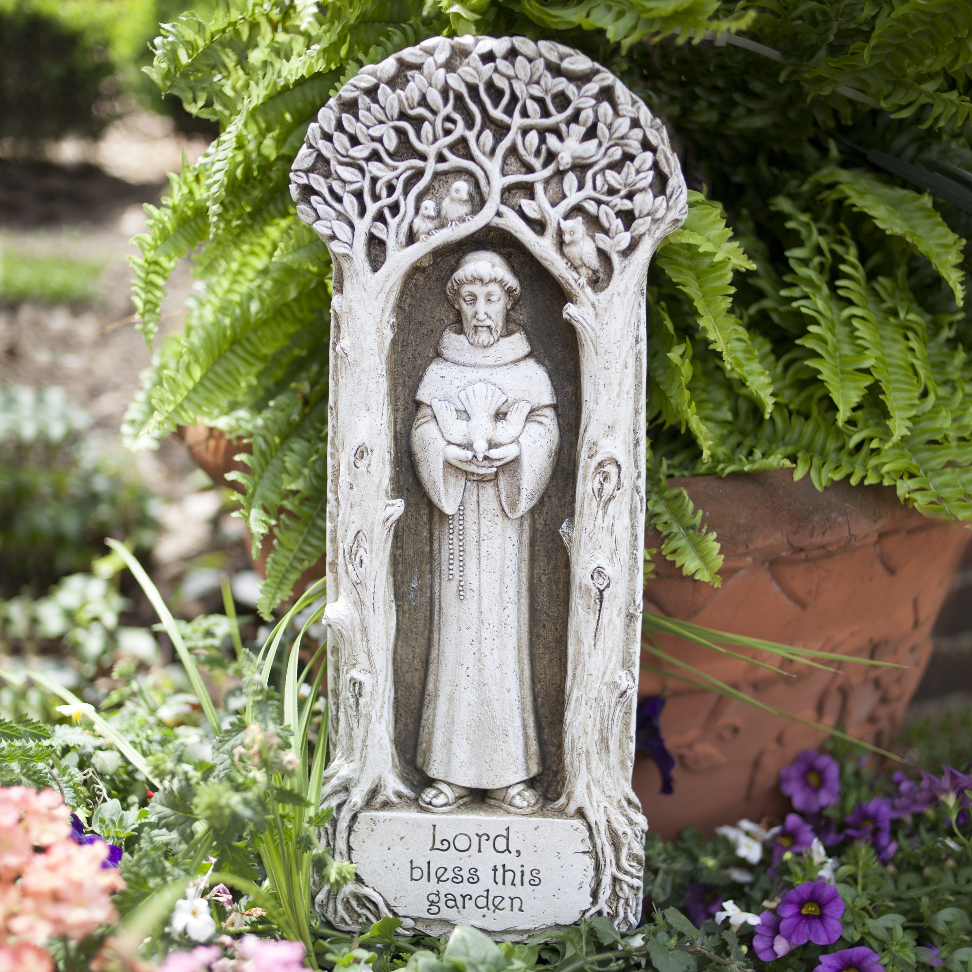 gray angel plaque roman wall feeder garden p plaques by bird