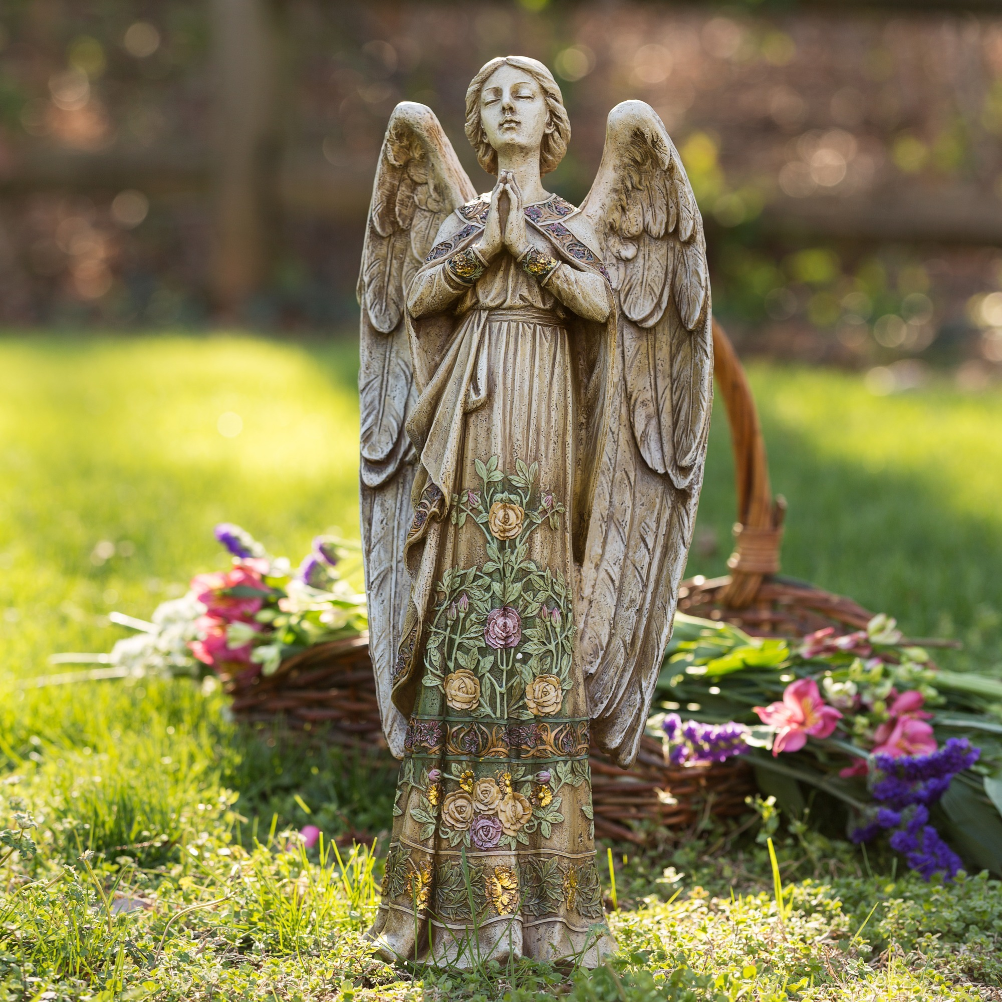 Standing Garden Angel with Floral Trim 24 inch The Catholic