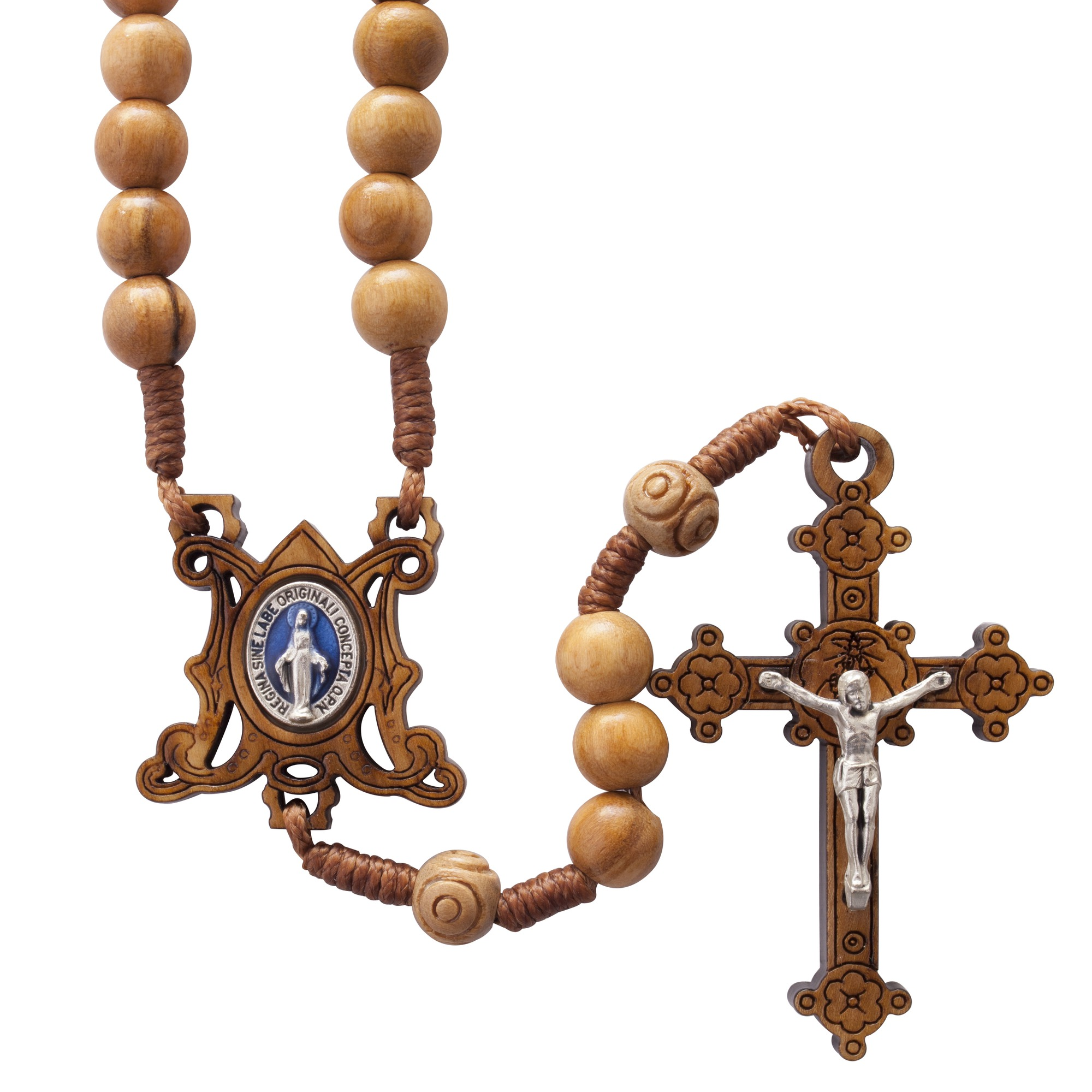 Olive Wood Corded Miraculous Medal Rosary The Catholic Company