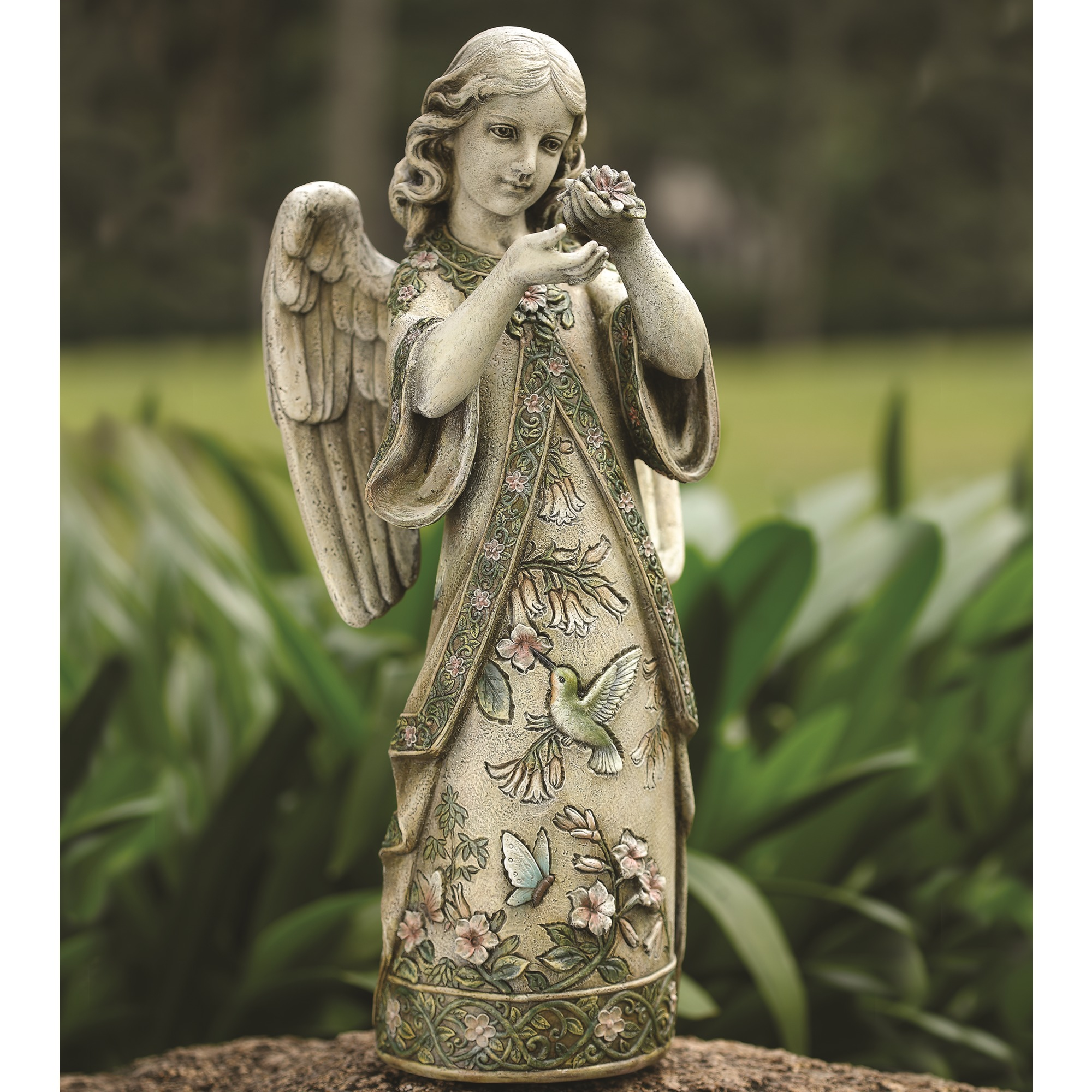 Hummingbird Garden Angel Statue 19\