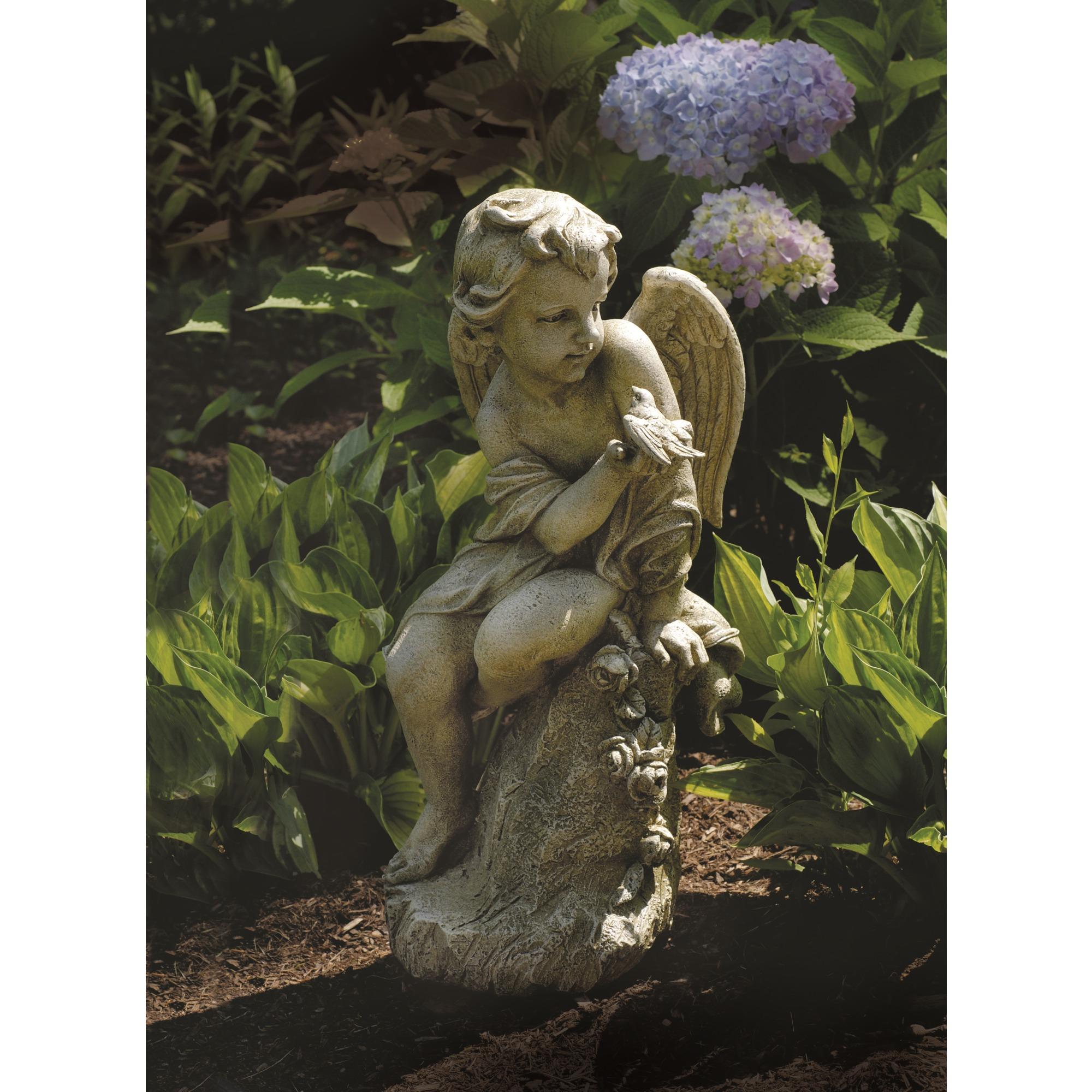 Sitting Garden Cherub with Bird 20\