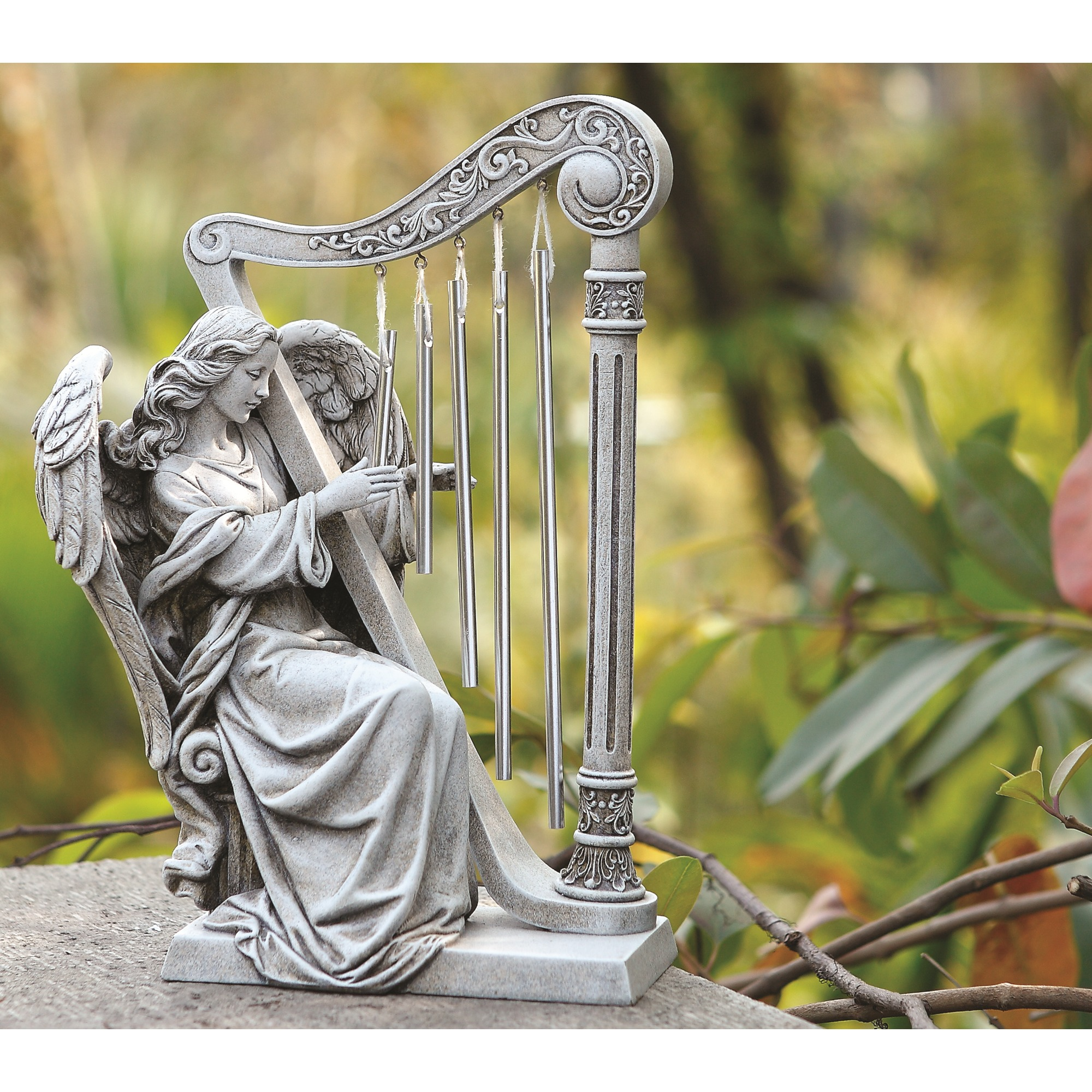 Garden Angel with Harp Chimes 10 The Catholic Company