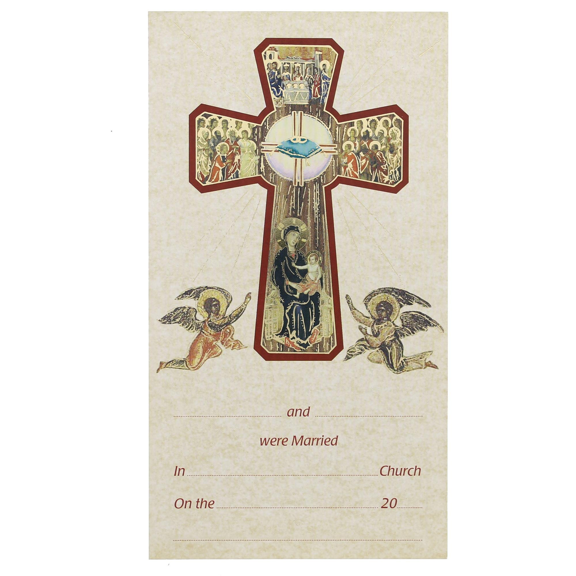 Catholic sacramental certificates the catholic company cross marriage certificate xflitez Images