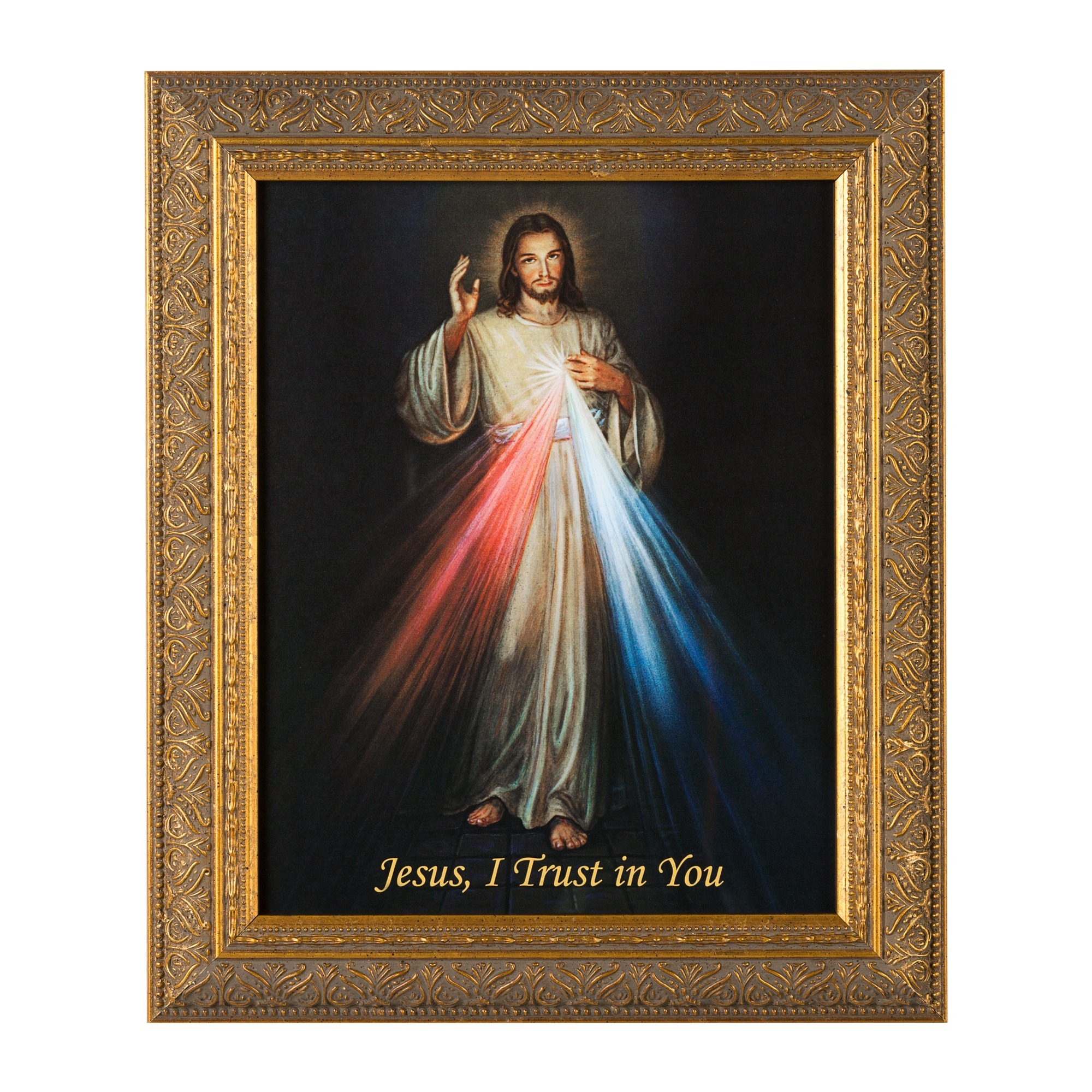 Framed prints of jesus christ the catholic company divine mercy w gold frame jeuxipadfo Image collections