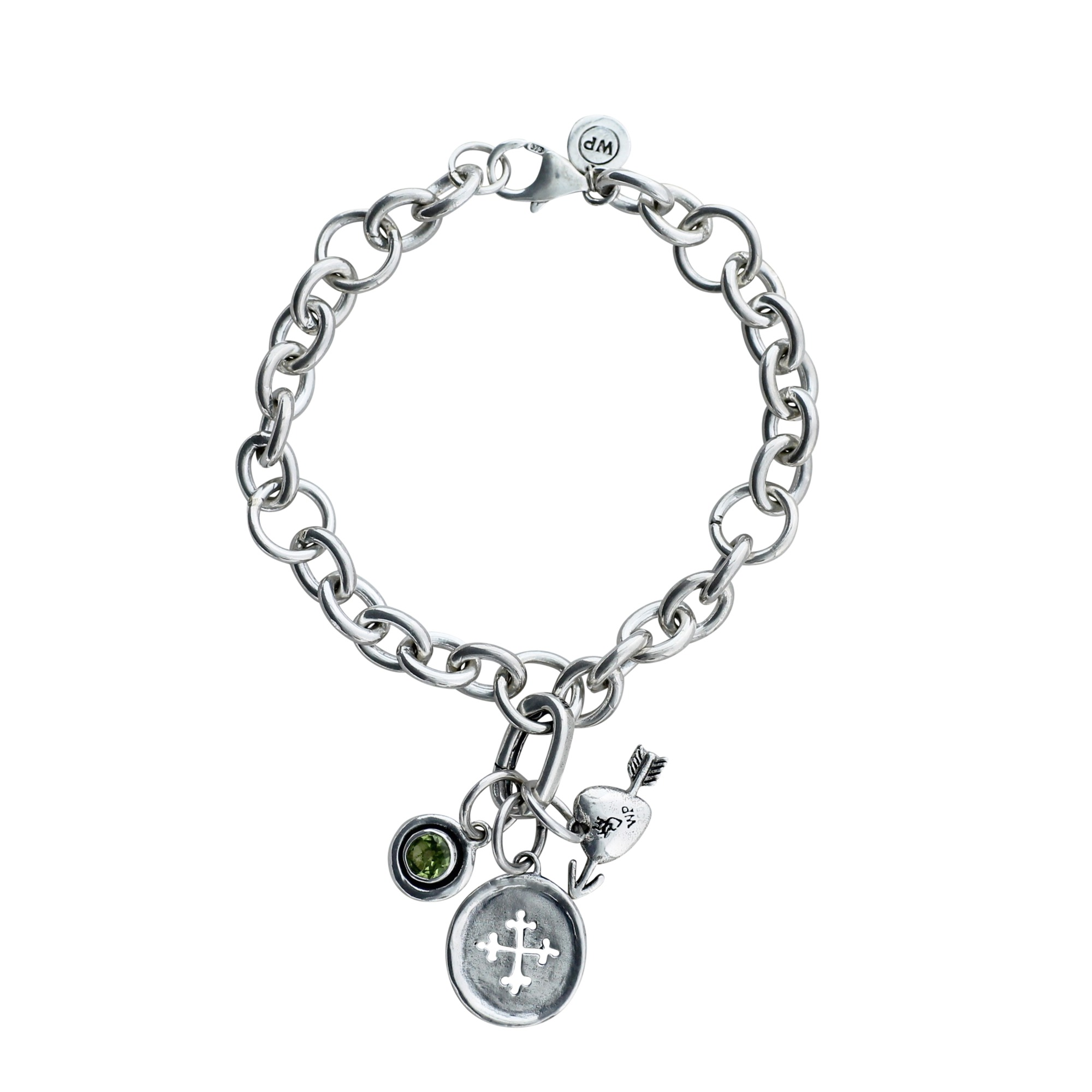 Cable Bracelet with Cross & Heart Charms