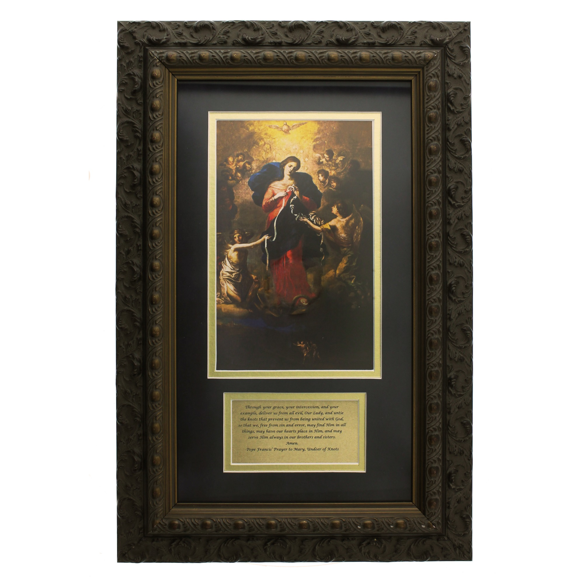Mary Untier Of Knots With Pope Francis Framed Prayer
