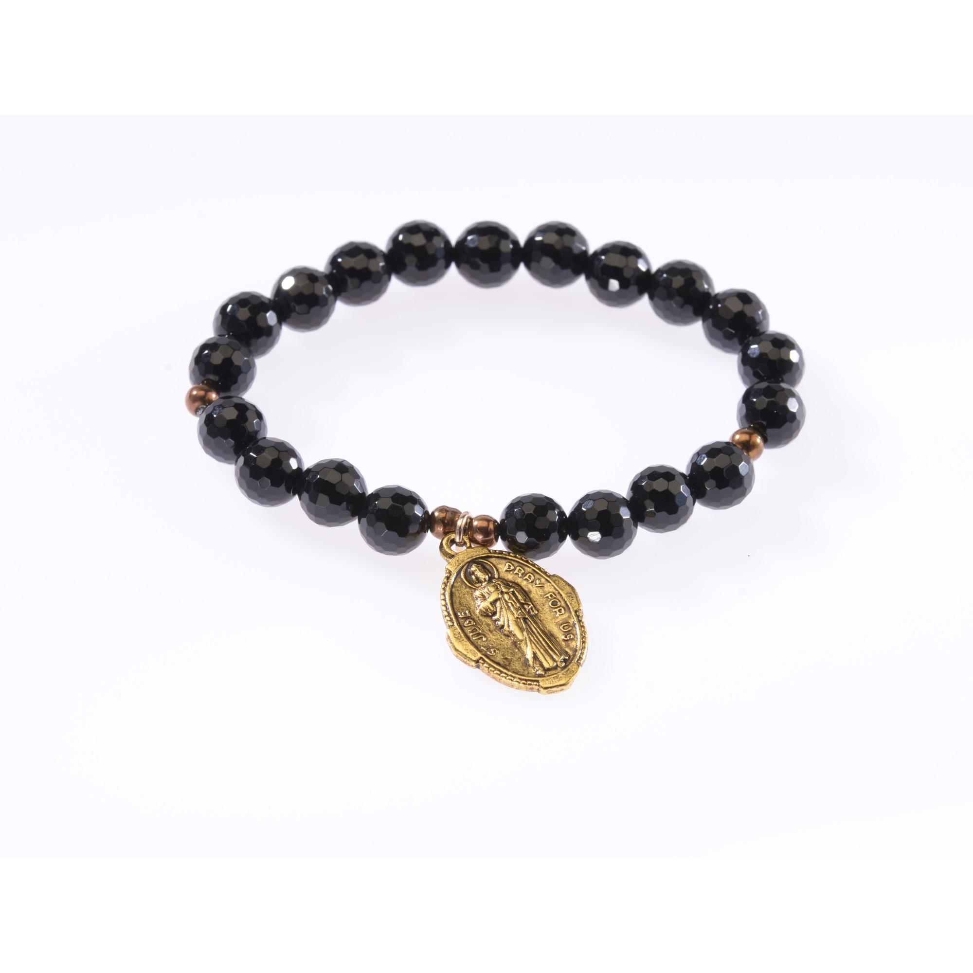 St Jude Thaddeus rosary beads medal pendant gold tone Catholic Saint