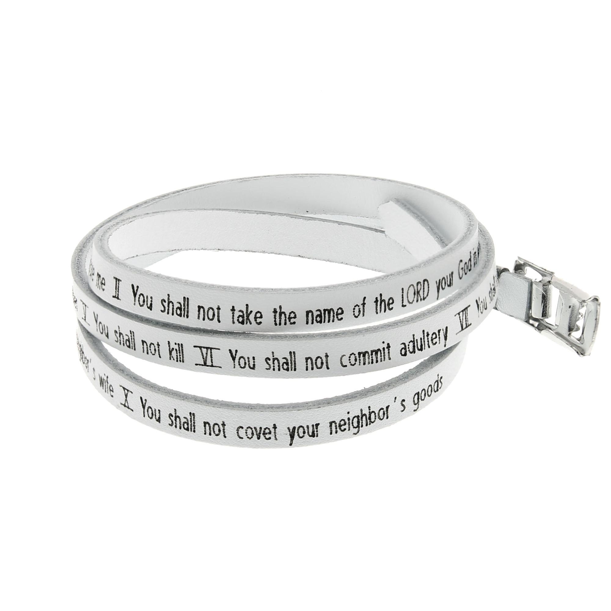 White Tenmandments Leather Wrap Bracelet