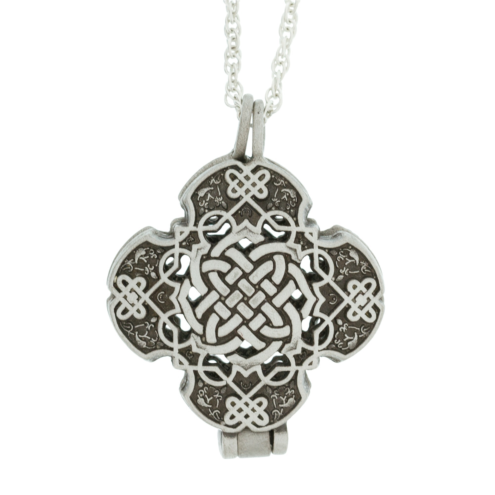 silver locket knot sterling necklace celtic in lockets