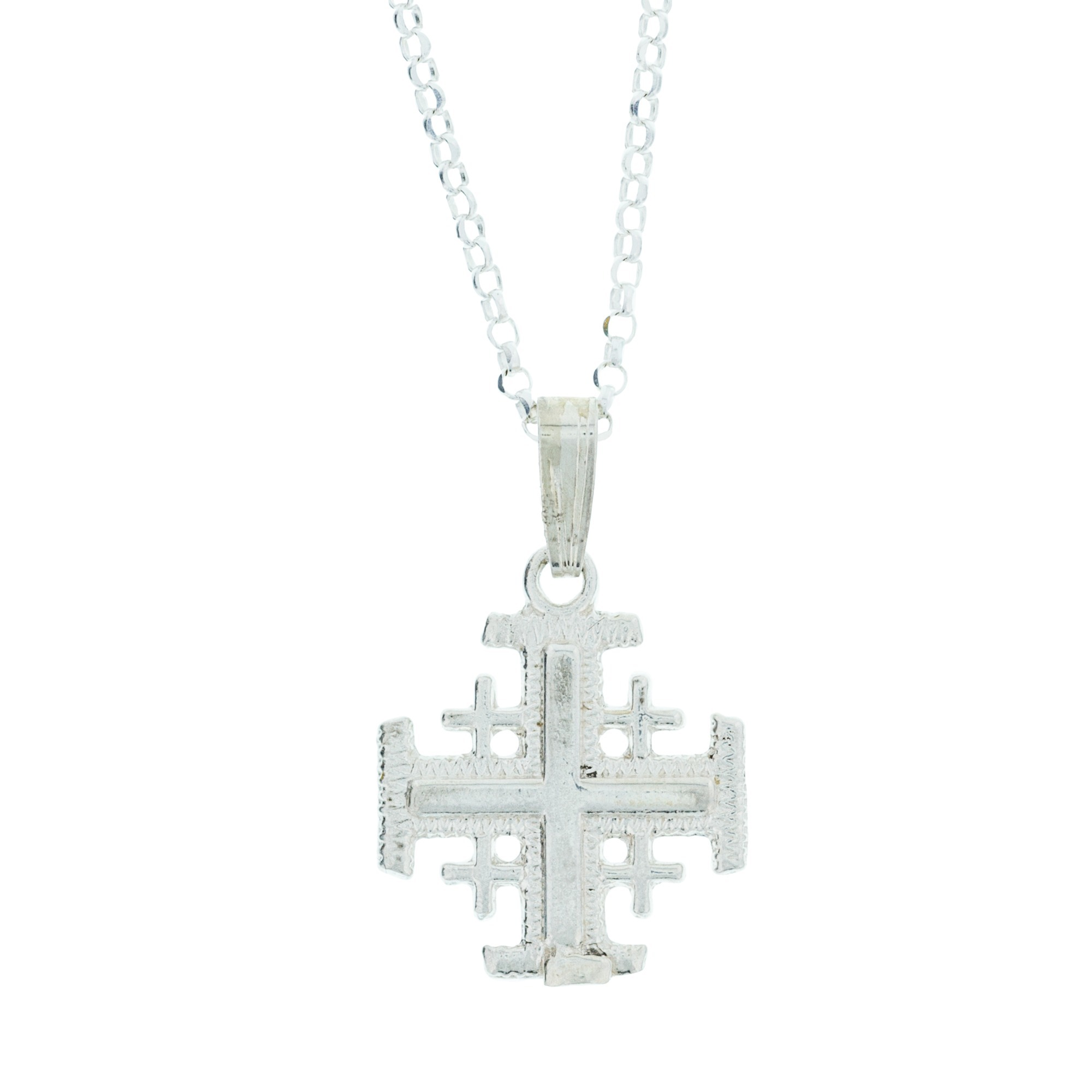silver cross jerusalem pendant
