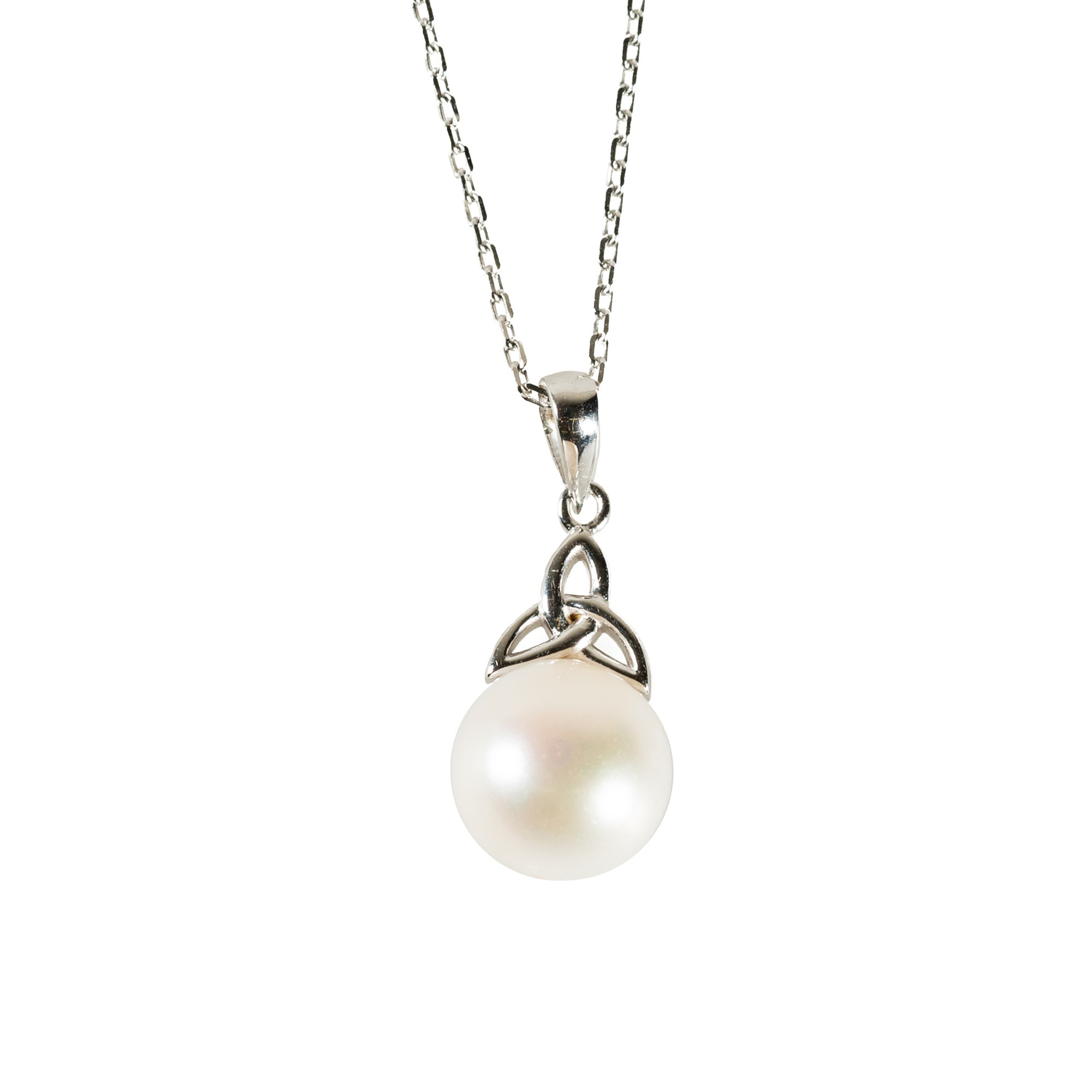 Sterling Pearl Trinity Knot Necklace The Catholic Company