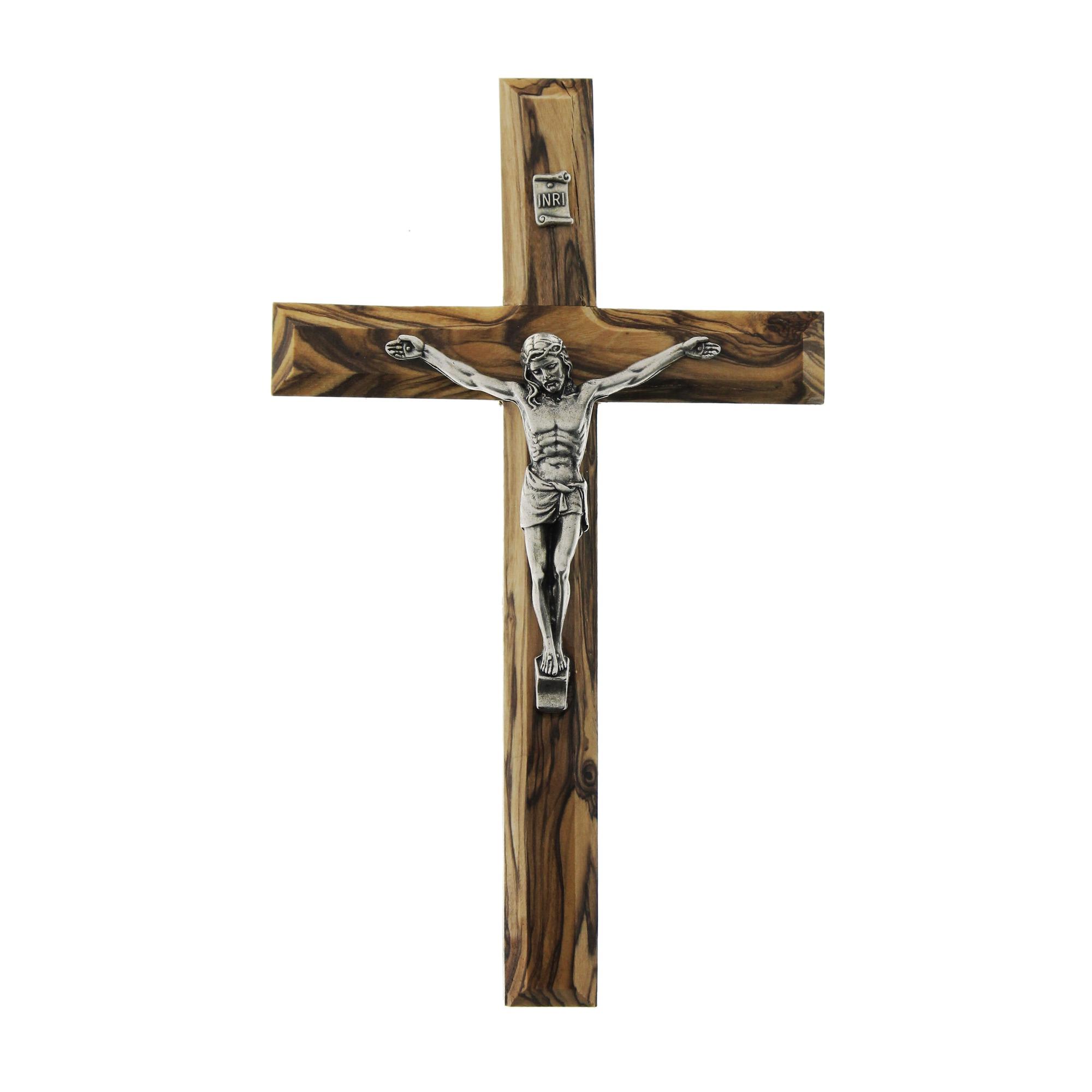 olive wood plain crucifix the catholic pany