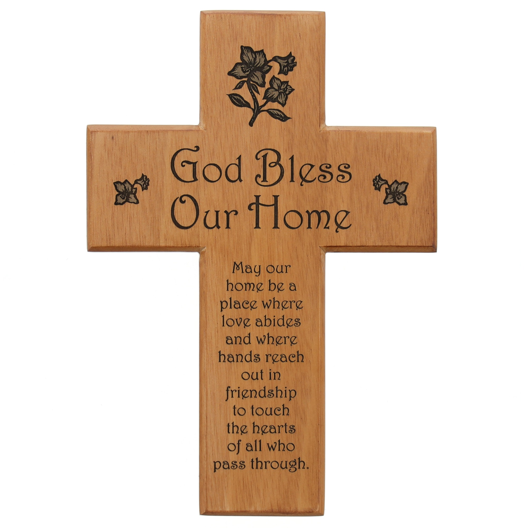 Relatively God Bless Our Home Mahogany Wall Cross | The Catholic Company EB55