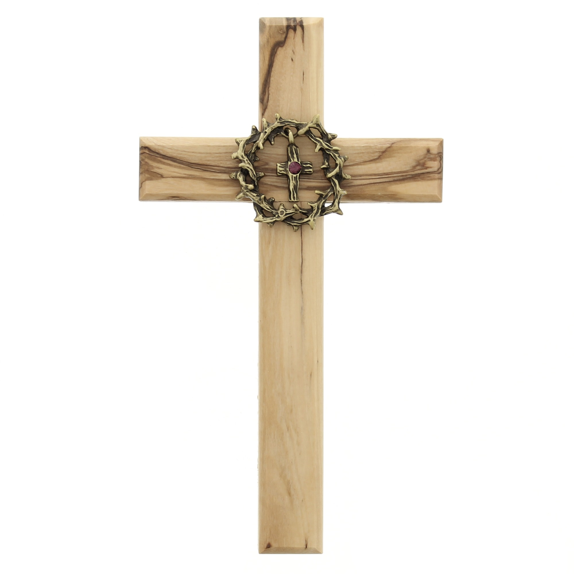 crown of thorns olive wood cross the catholic company