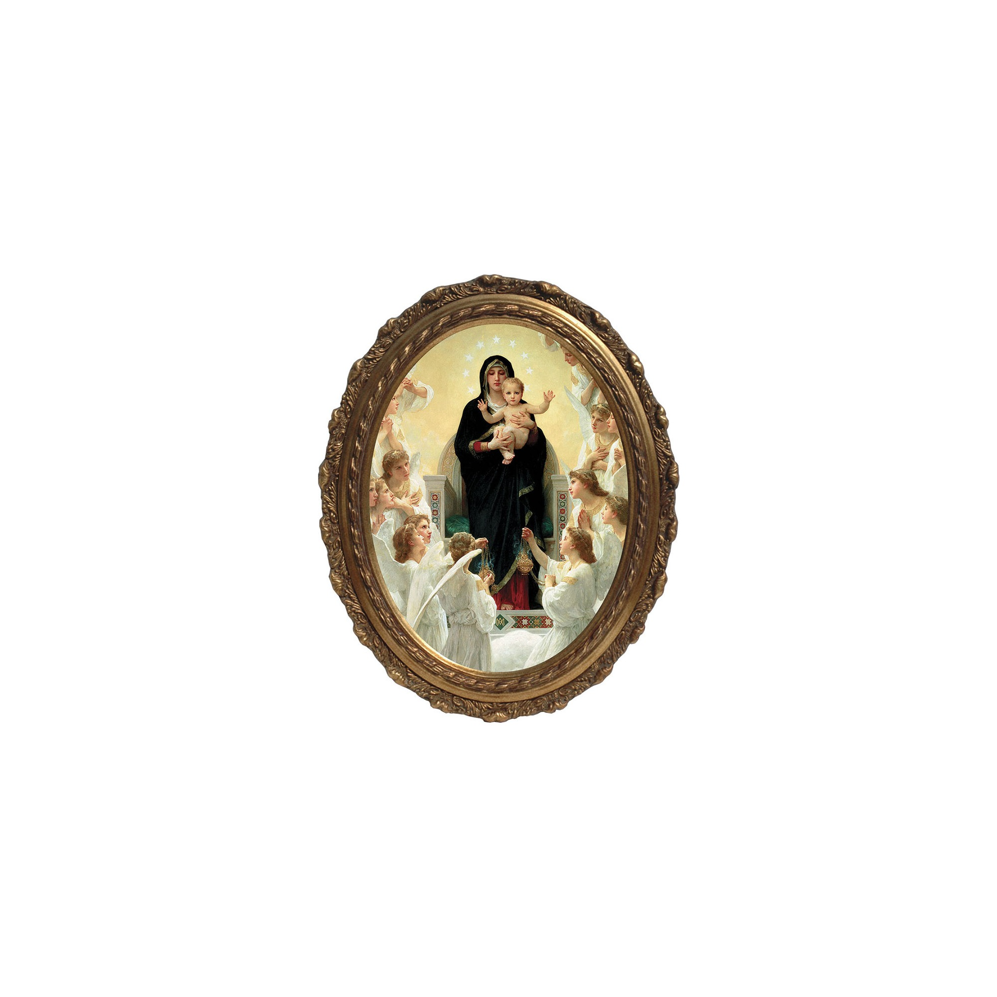 Queen of the Angels Canvas w/ Gold Oval Frame | The Catholic Company
