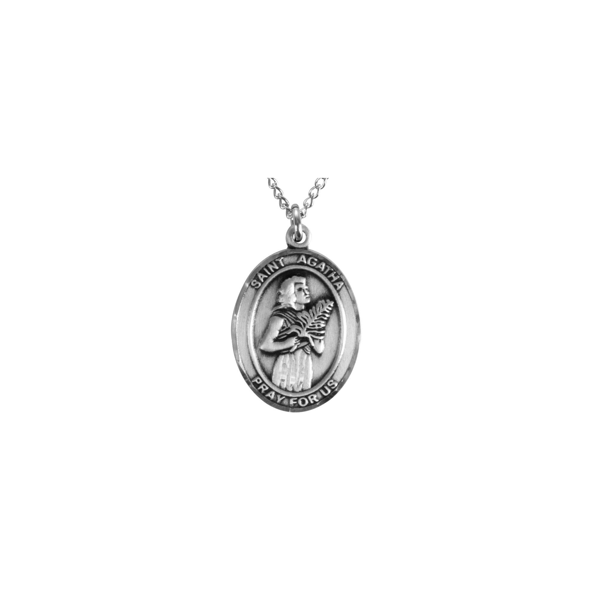 Sterling Silver St. Agatha - Nurse Pendant w/ Chain