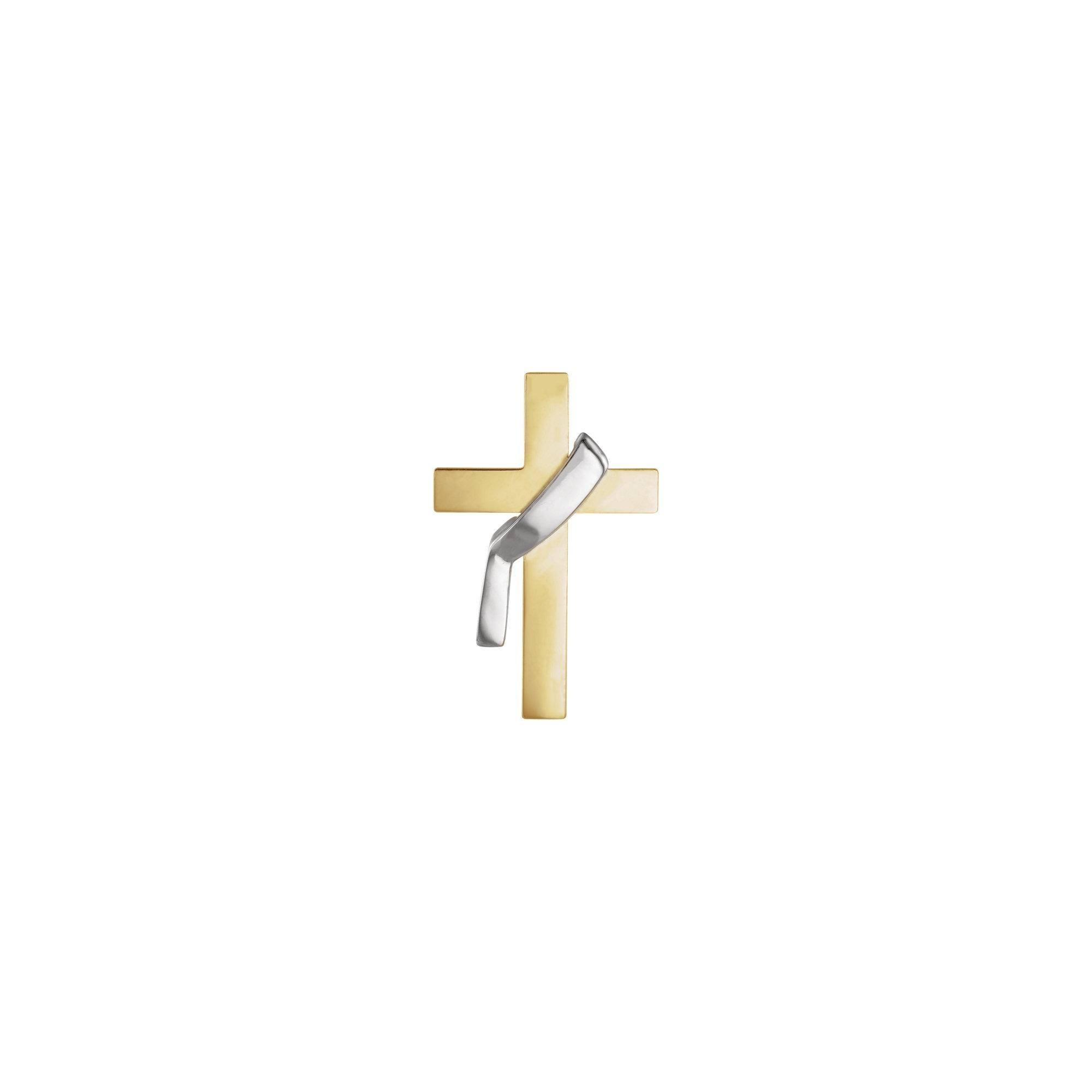 14Kt Yellow/White Polished Two Tone Deacon Cross Lapel Pin