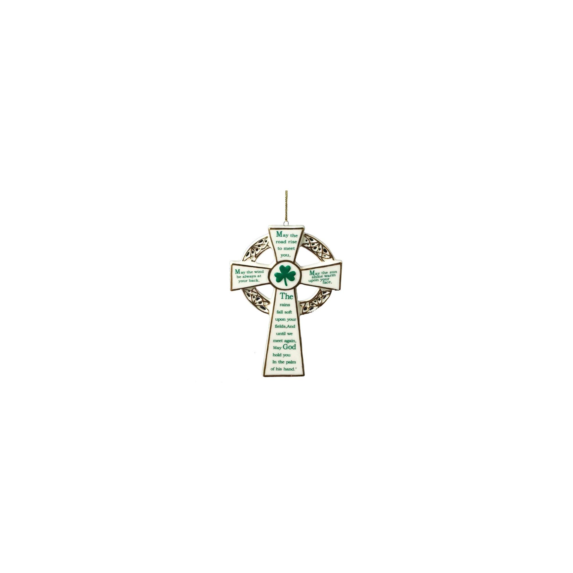 Porcelain Irish Blessing Cross Ornament   The Catholic Company