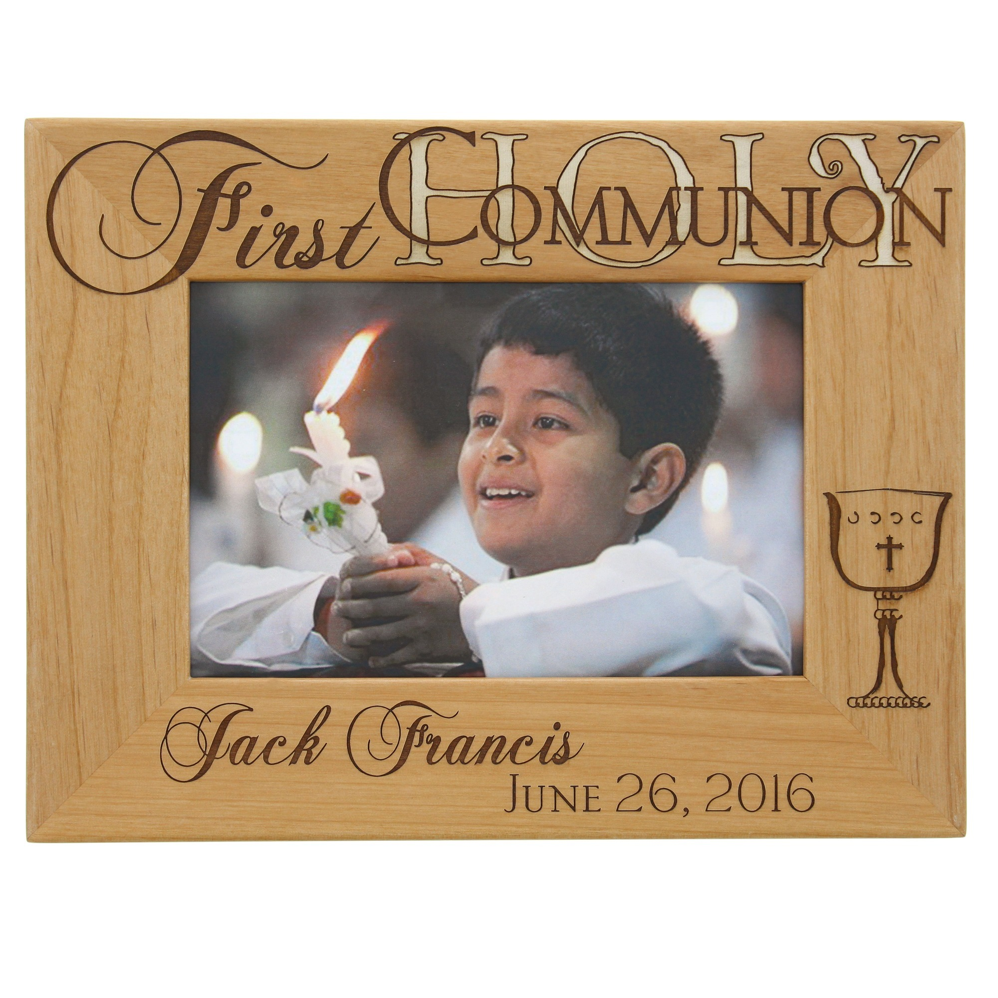 First communion picture frames and photo albums the catholic company personalized first communion wooden frame jeuxipadfo Image collections