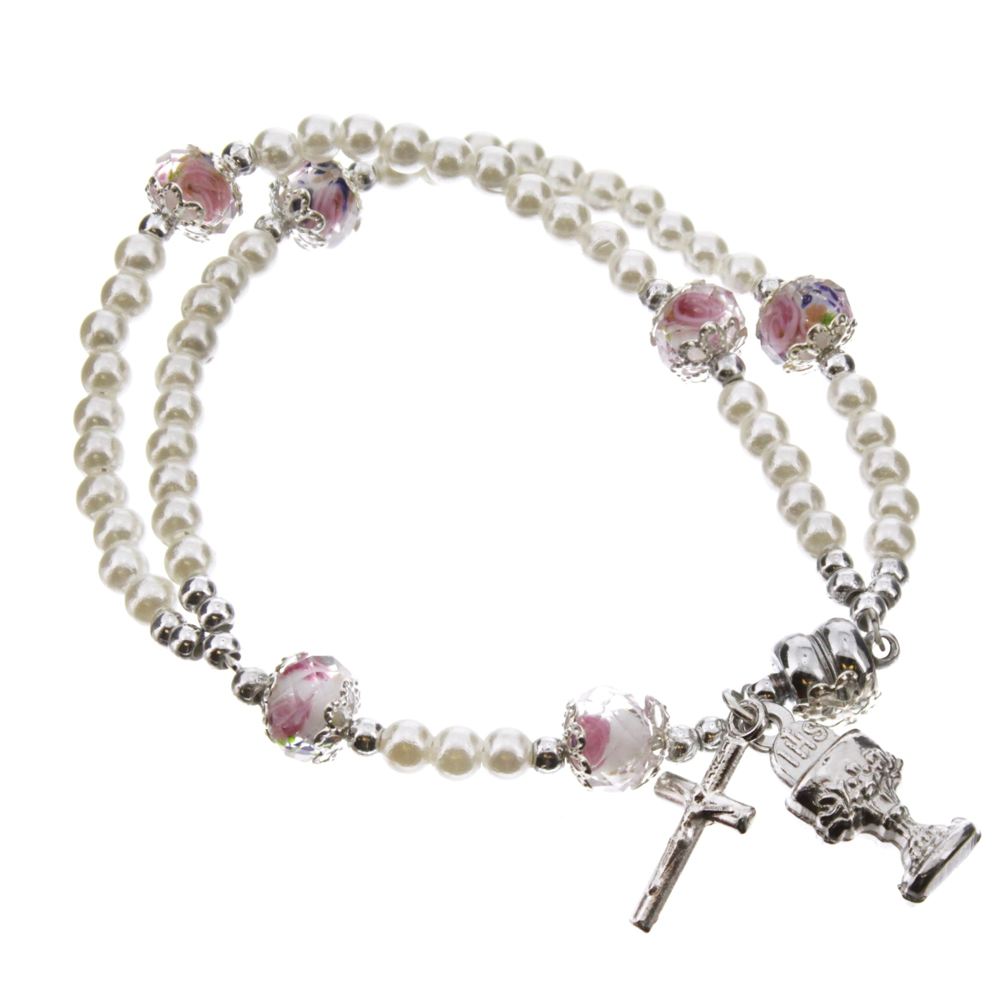 First Communion Rosary Wrap Bracelet