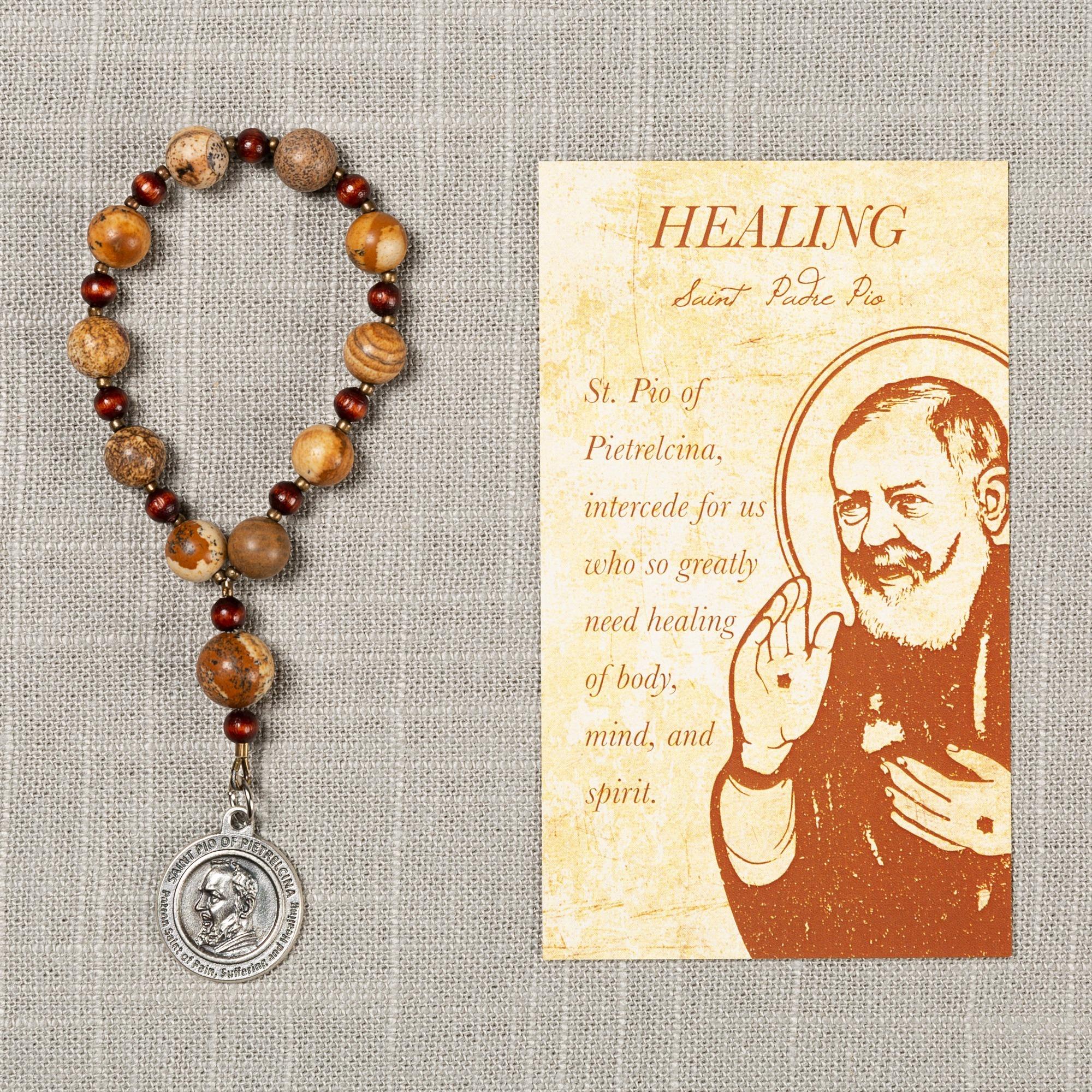 St  Padre Pio Healing Decade Rosary & Card