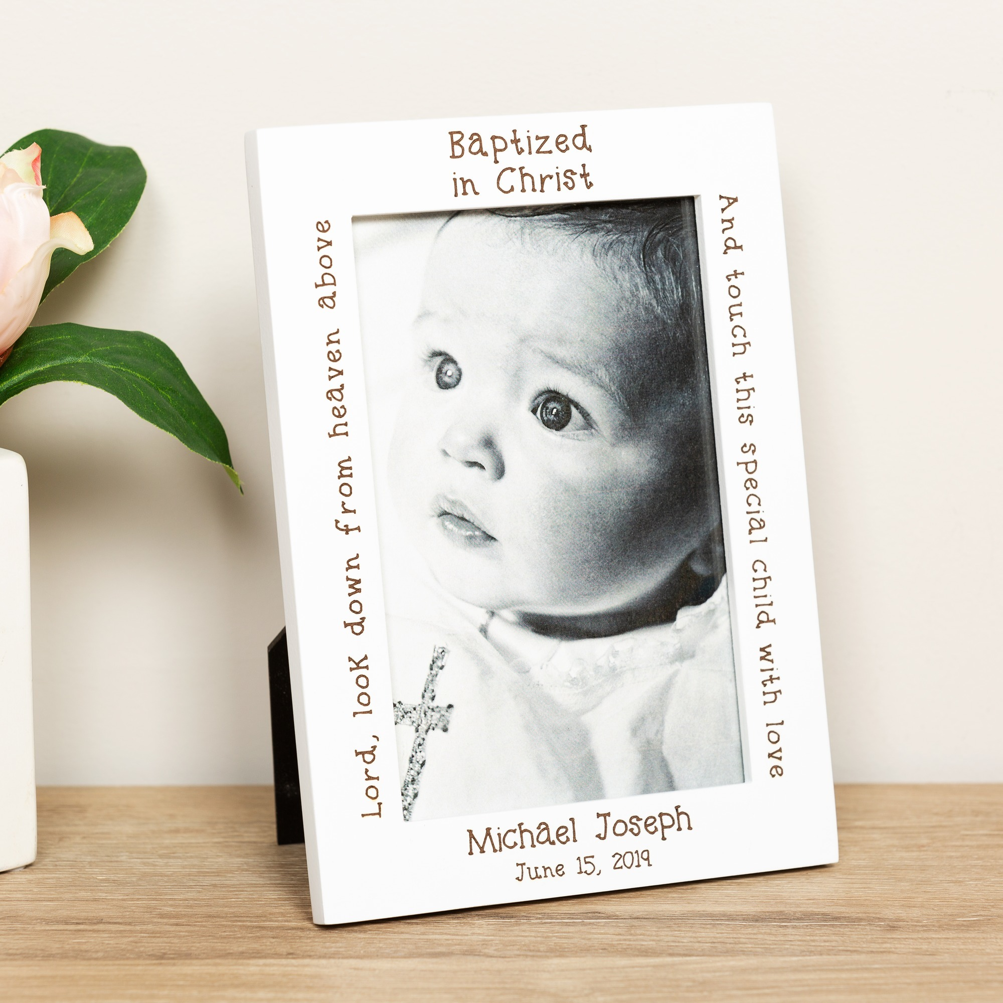 personalized white wood baptism frame
