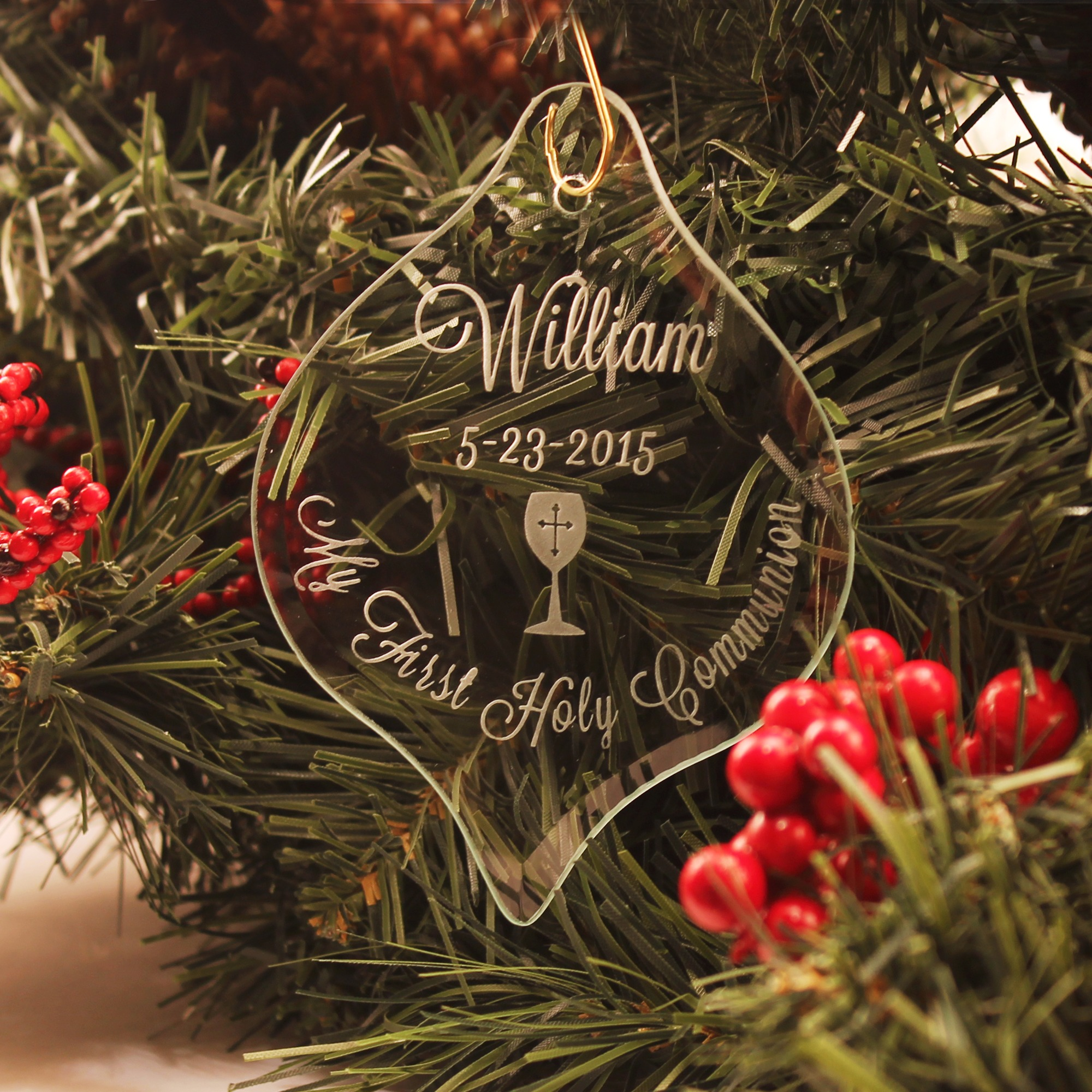 Engraved glass ornaments - Personalized First Communion Glass Ornament