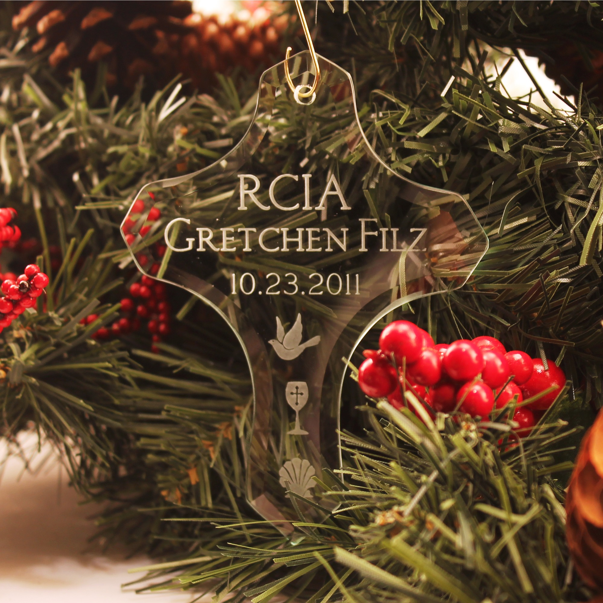 Engraved glass ornaments - Personalized Glass Rcia Cross Ornament