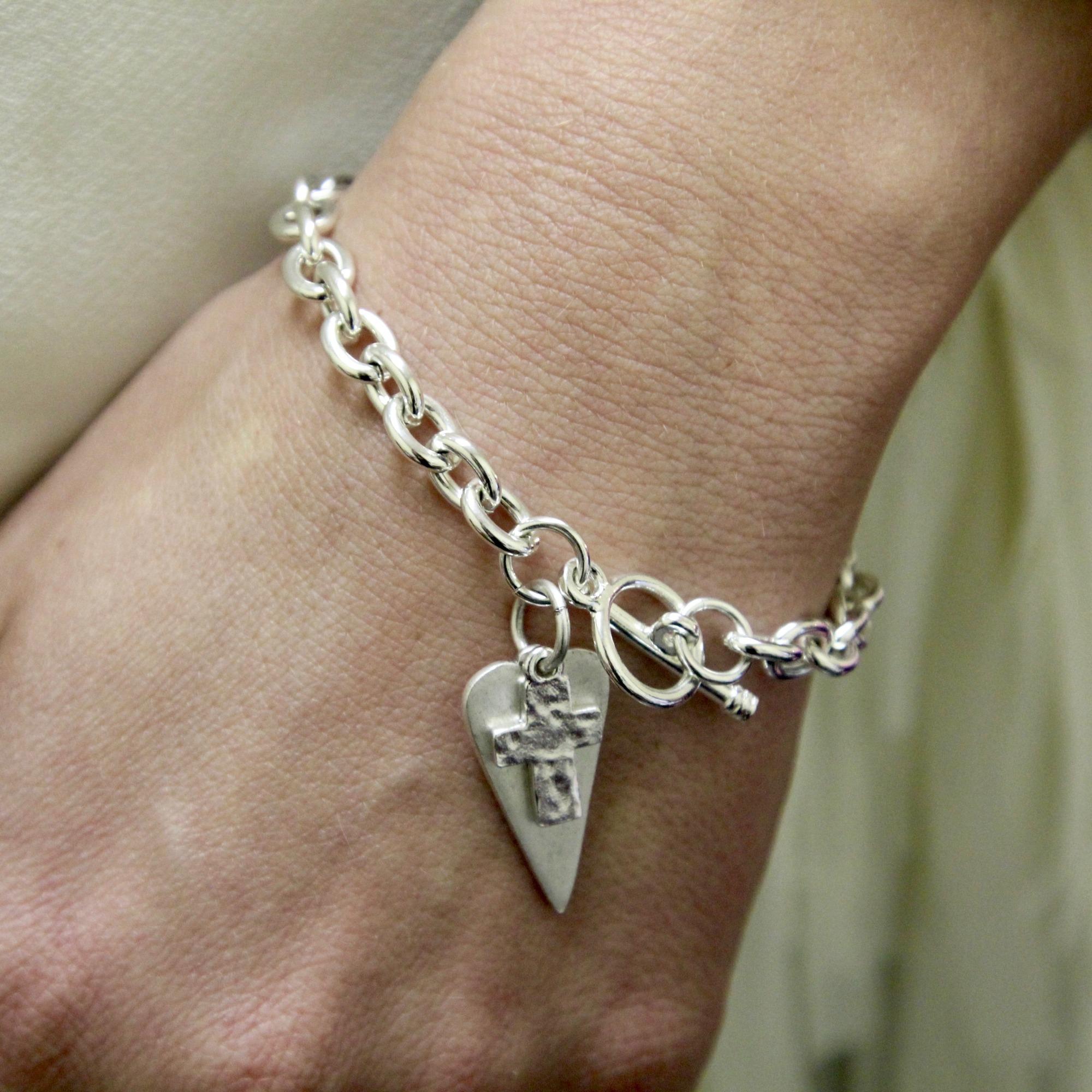 98e7dbcb3 Personalized Tiffany Style Heart Cross Bracelet | The Catholic Company