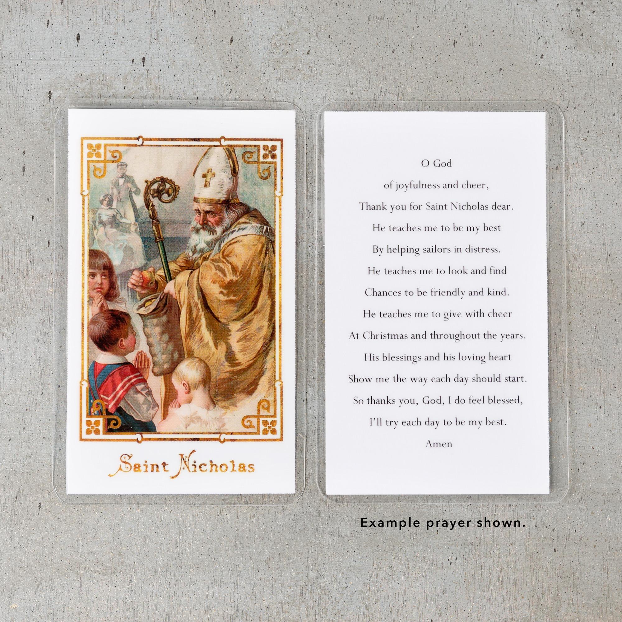 Vintage St Nicholas Personalized Prayer Cards | The Catholic Company
