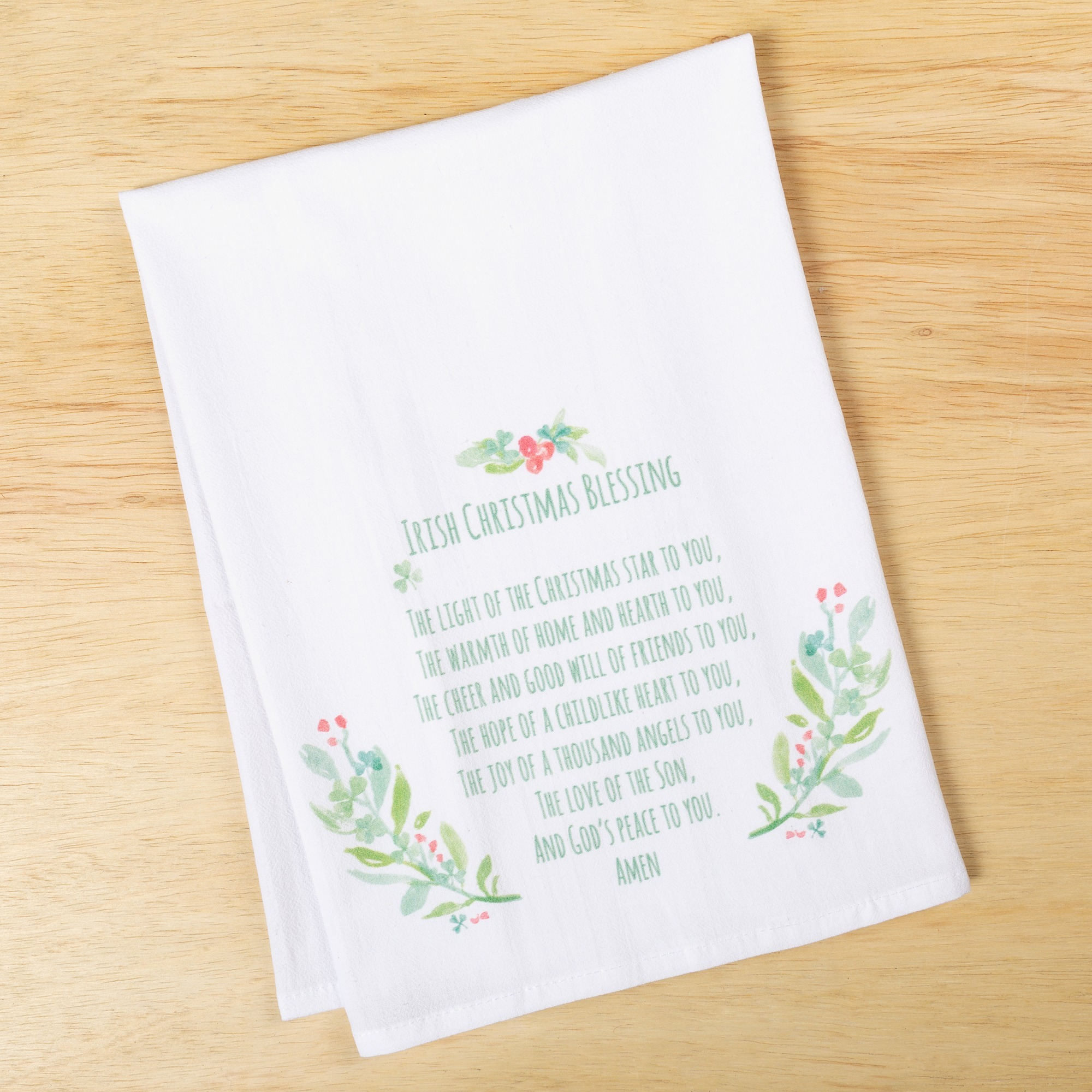 Irish Christmas Blessing Flour Sack Dish Towel | The Catholic Company